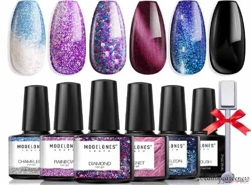 gel nail polish designs with glitter